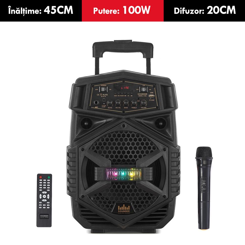 Boxa ACTIVA cu acumulator SOUNDER, putere 100W,  tip TROLER, inaltime 45cm, Bluetooth, USB (mp3), card SD, MICROFON wireless si TELECOMANDA