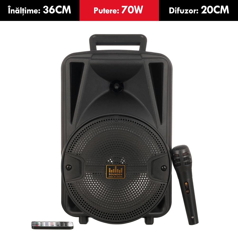 Boxa ACTIVA cu acumulator SOUNDER, putere 70W, tip TROLER, inaltime 36cm, Bluetooth, USB (mp3), card SD, MICROFON cu fir si TELECOMANDA
