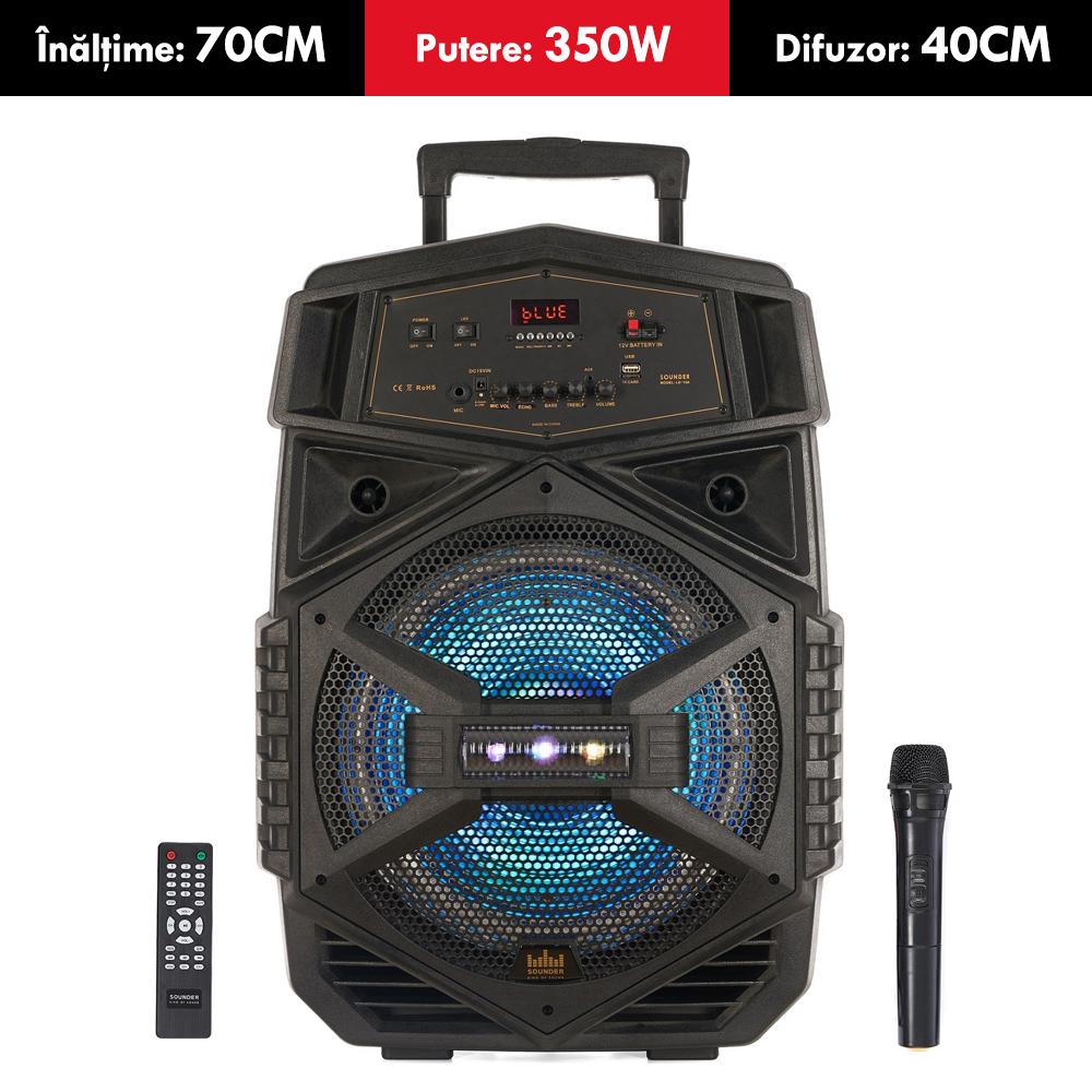 Boxa ACTIVA cu acumulator SOUNDER, putere 350W, tip TROLER, inaltime 68 cm, Bluetooth, USB (mp3), card SD, MICROFON wireless si TELECOMANDA