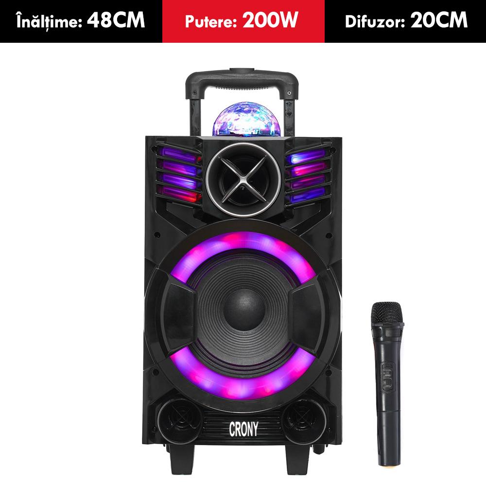 Boxa ACTIVA cu acumulator CRONY, putere 200W, tip TROLER, inaltime 46cm, Bluetooth, USB (mp3), card SD, MICROFON wireless si TELECOMANDA